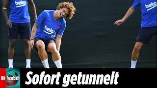 Im ersten Barca-Training –Antoine Griezmann direkt zwei Mal getunnelt