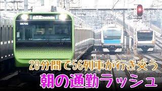 東京駅から次々と迫りくる!20分間で56列車が行き交う朝の通勤ラッシュ[JR神田駅](ノーカット版)