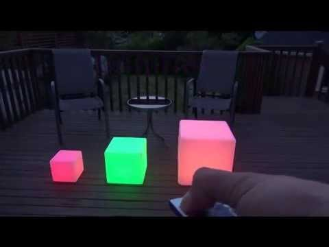 LED Light Up Waterproof Cordless Glow Cube Seat Furniture 17 12 8