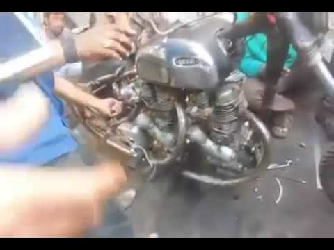 Two 350cc Royal Enfield Engines mounted on one Bullet Indian Jugad