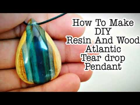 How To Make DIY Atlantic Tear Drop Necklace Pendant From Epoxy Resin And Wood | Resin Jewelry | Art
