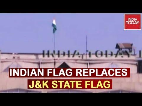 Indian National Flag Replaces J&K State Flag At Civil Secretariat In Srinagar