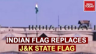 Indian National Flag Replaces J&K State Flag At Civil Secretariat In Srinagar