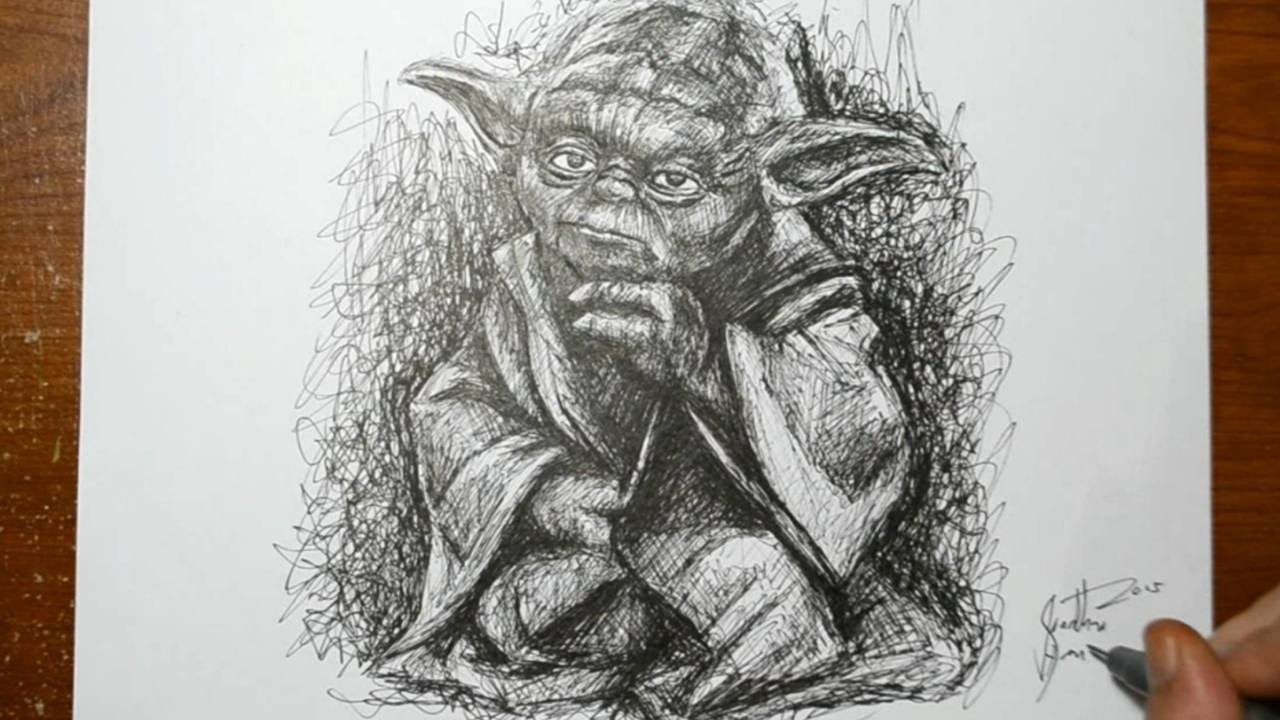 Line Drawing Yoda : Drawing yoda from star wars quick pen sketch youtube