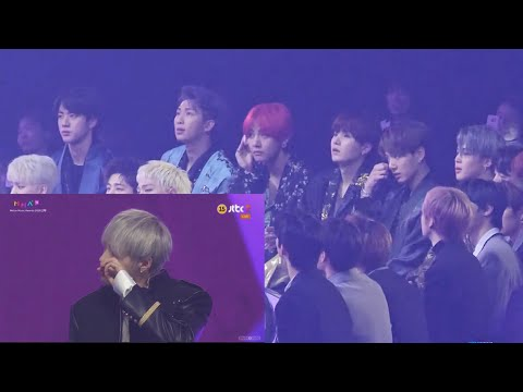 181201 BTS reaction to Wanna One Emotional 'Record of the Year' Speech @MMA