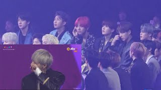 181201 BTS reaction to Wanna One Emotional 'Record of the Year' Speech @MMA Resimi
