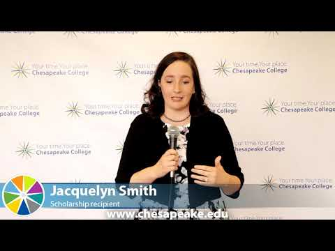 Jacquelyn Smith, scholarship recipient, thanks Chesapeake College's donors