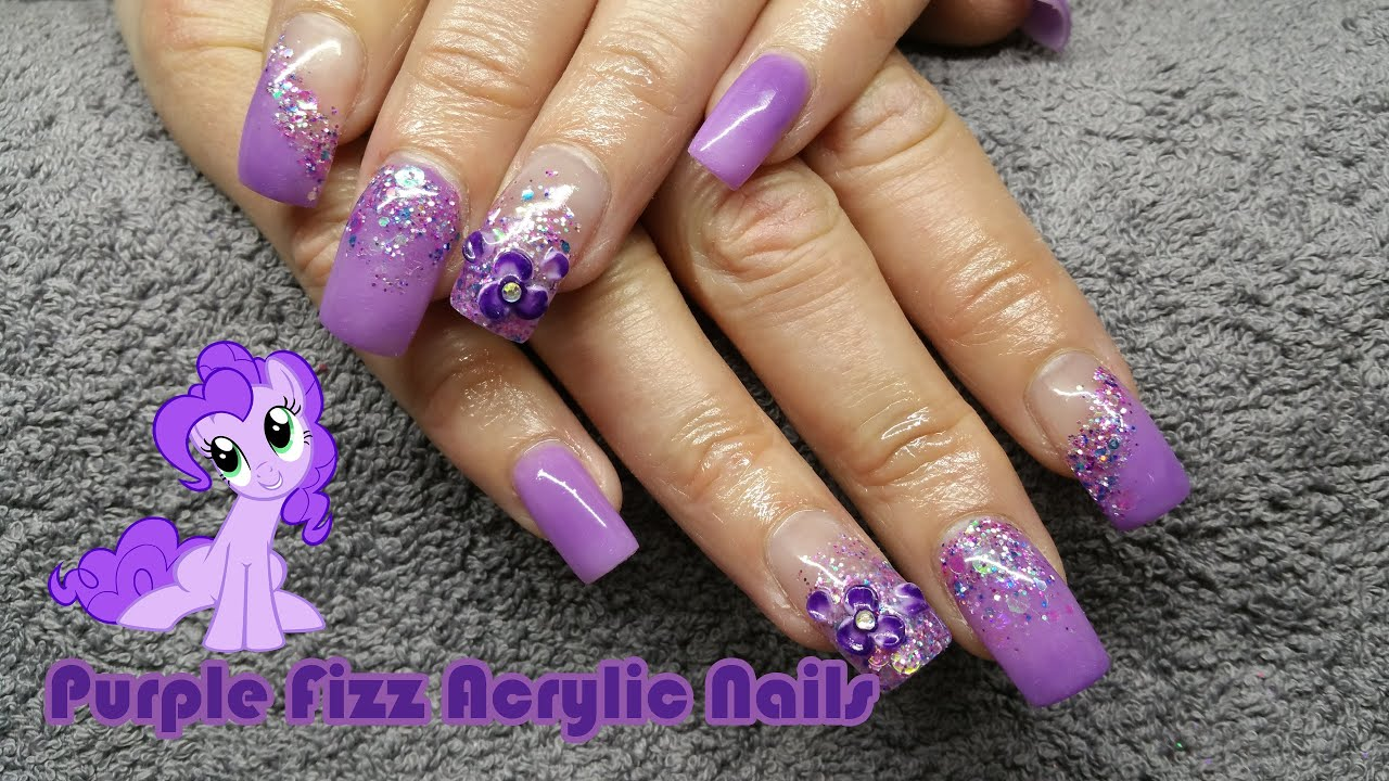 HOW TO: purple fizz acrylic nails - glitter acrylic prom nails - YouTube