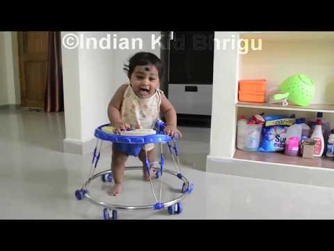 download 7 months kid enjoying in baby Walker|Indian kids in Walker|Baby learning how to walk|Indian Bhrigu