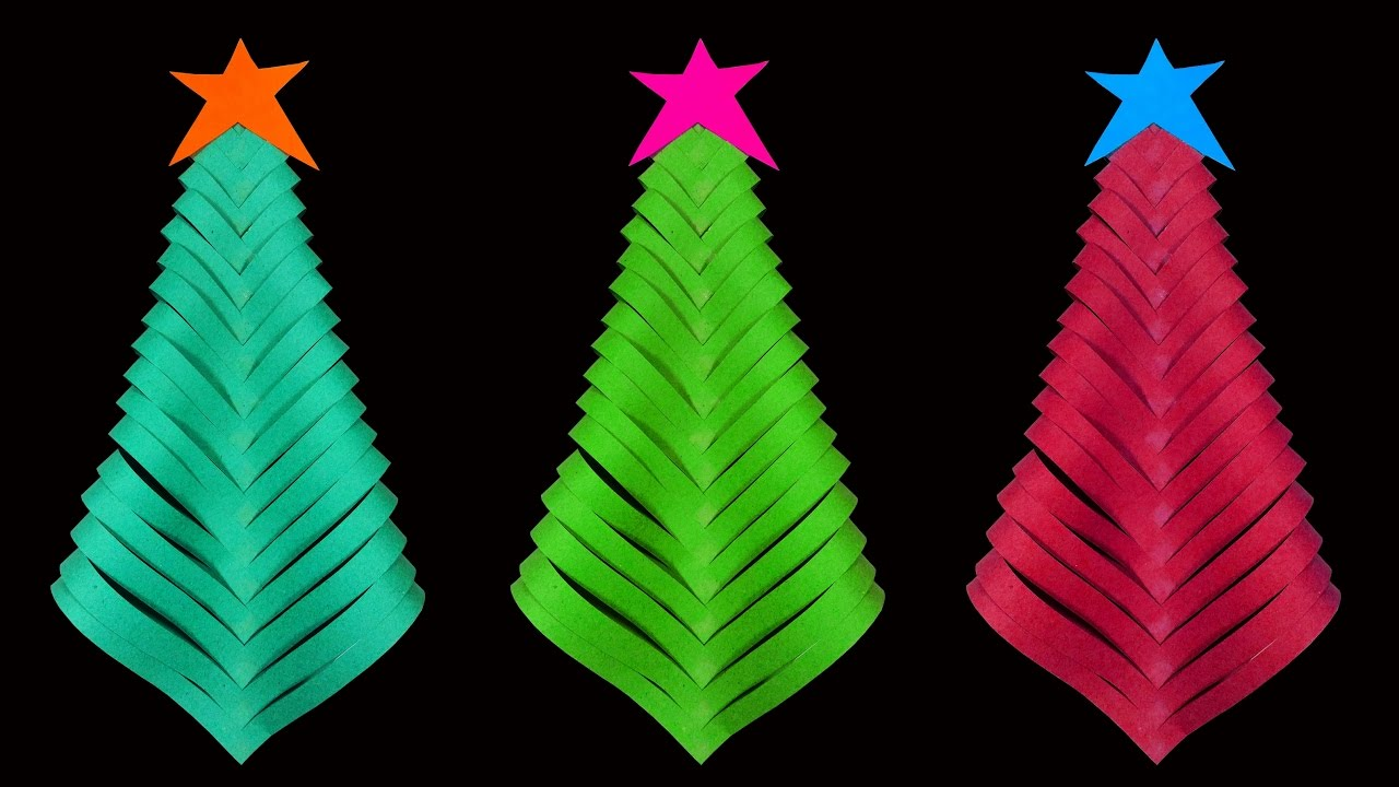 Christmas Tree Craft.How To Make A Simple And Beautiful Paper Christmas Tree Christmas Crafts Hd