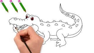 Vẽ Con Cá Sấu - Tranh Tô Màu Cho Bé - Chủ Đề Các Con Vật