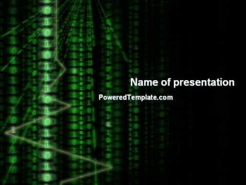 matrix code stream powerpoint template by poweredtemplate