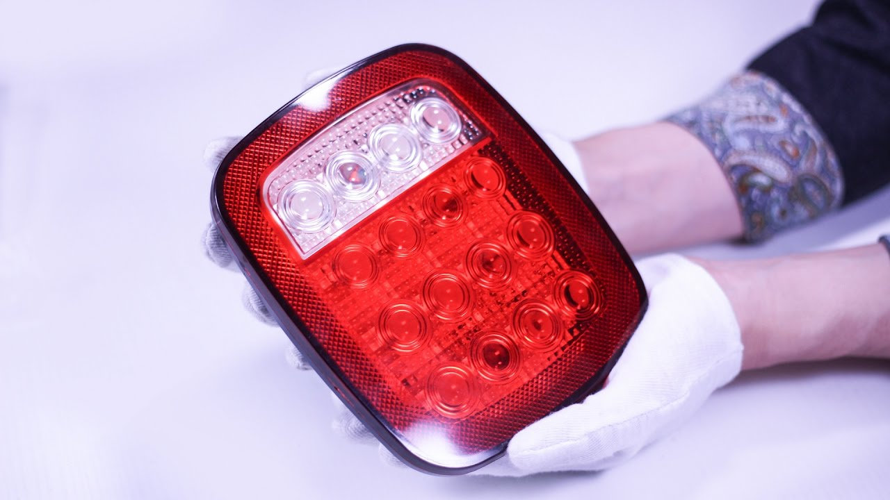 hight resolution of 16 led stop tail turn lights red white for truck trailer jeep boat lorry van review partsam