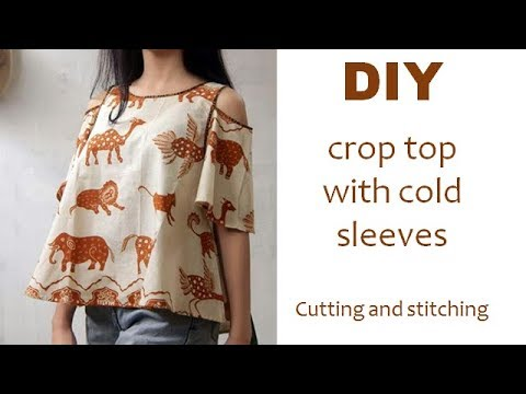 64a0a6d06fe DIY crop top with cold sleeves /off shoulder cutting and stitching full  tutorial