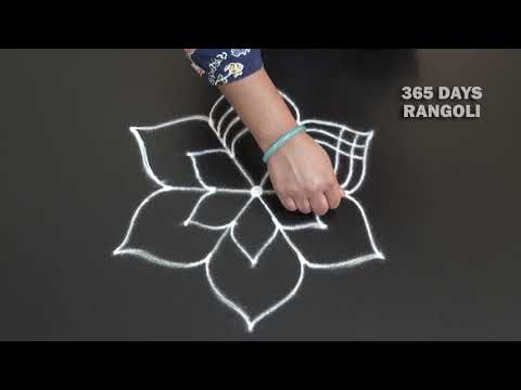 Small Rangoli Design,5 Dots Kolam,ಚುಕ್ಕಿ ರಂಗೋಲಿ,Beginners Rangoli Design