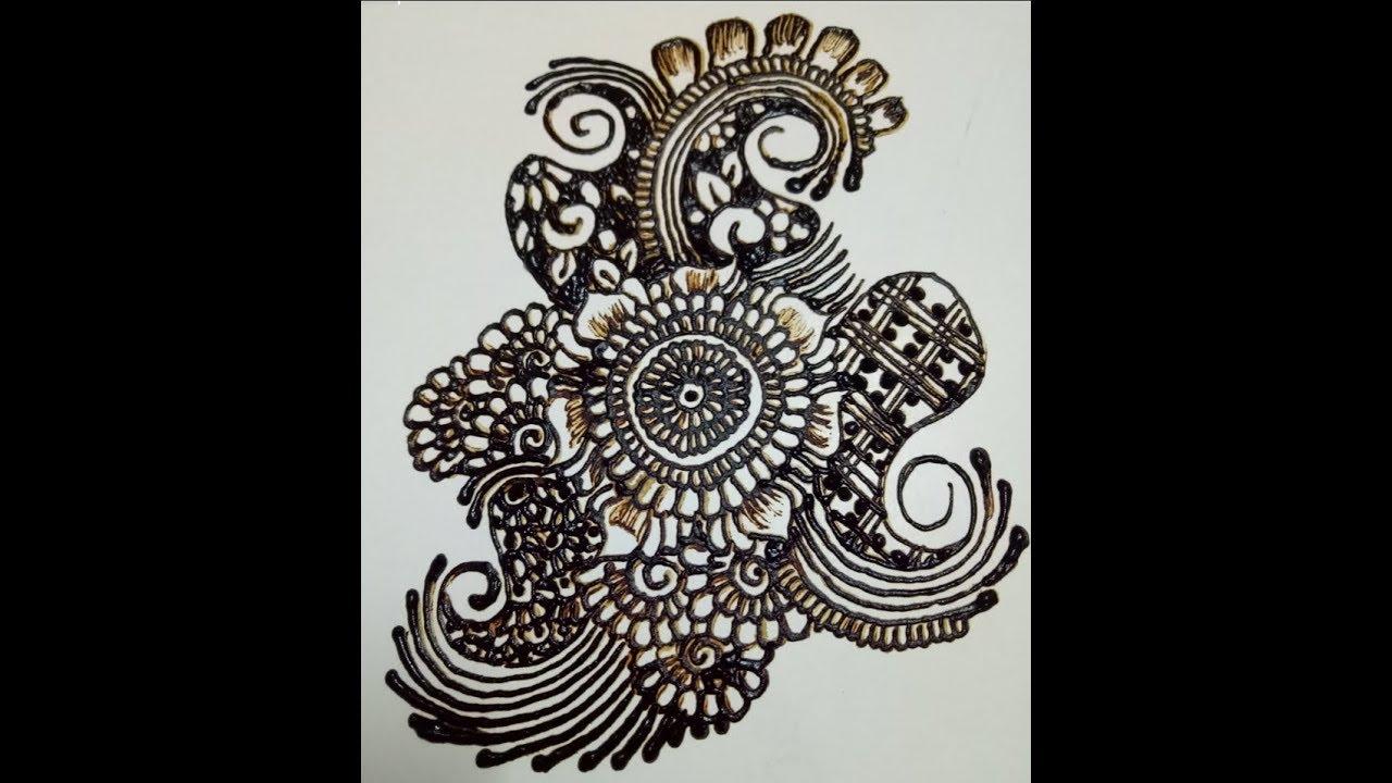 Indian Henna Design Easy Mehndi Design On Paper Simple Easy