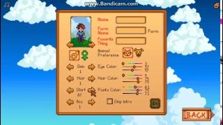 Stardew Valley - Character Creation