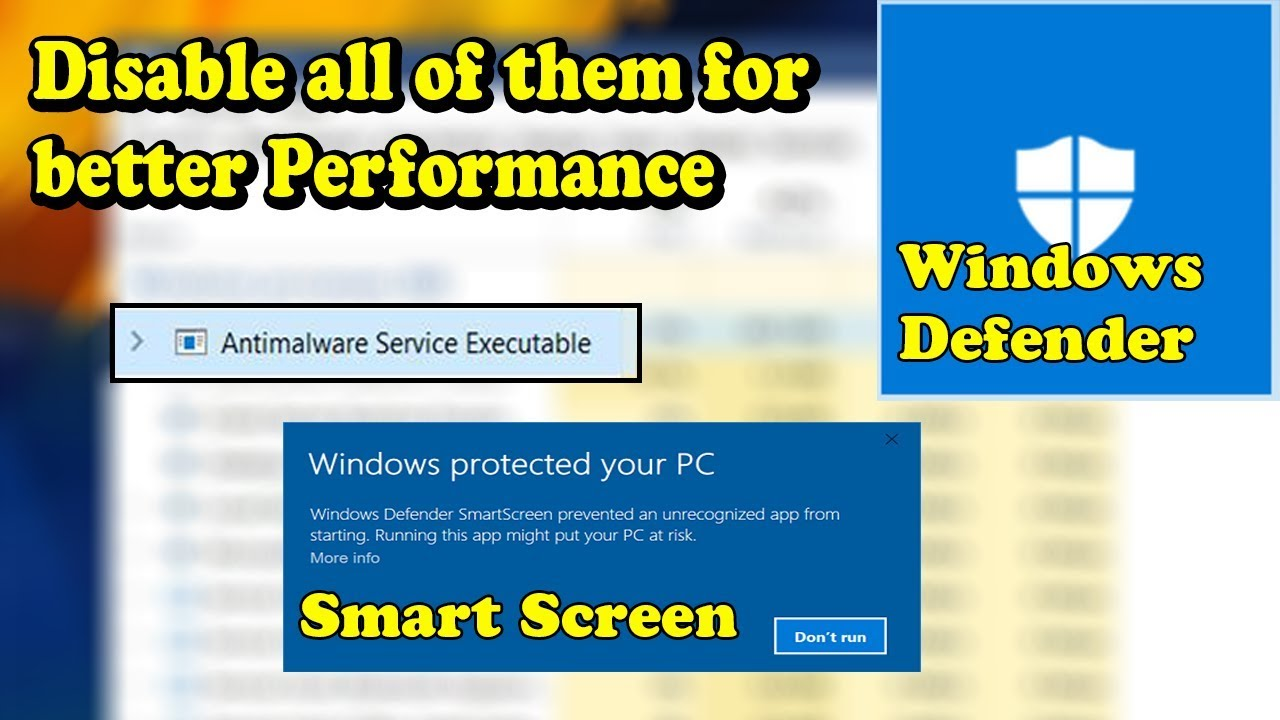 Disable Antimalware Service Windows Defender And Smart Screen For Better Windows Experience Youtube