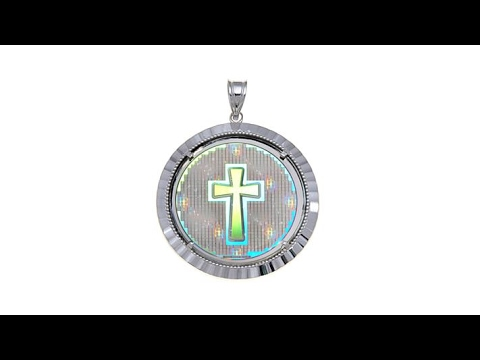 Michael anthony jewelry round cross hologram pendant youtube michael anthony jewelry round cross hologram pendant mozeypictures Image collections