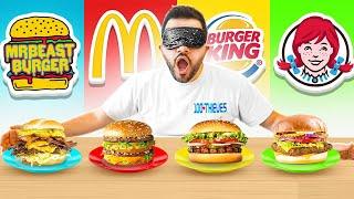 BURGER BLINDFOLD FAST FOOD CHALLENGE!