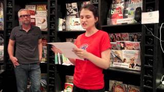 Sara Jane Rispoli reads at the book release party for Flicker & Burn