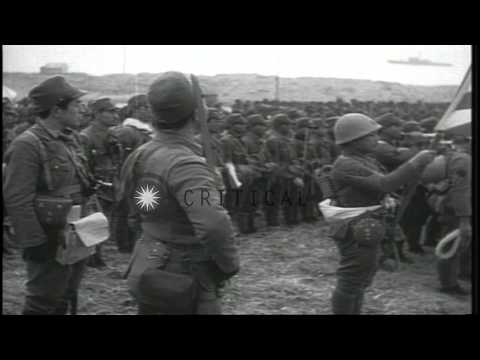 Japanese forces landing on Kiska, Aleutian Islands, during World War II HD Stock Footage