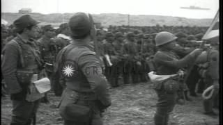 Japanese forces landing on Kiska, Aleutian Islands, during World War II HD Stock Footage