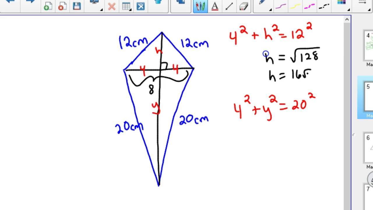 Area Of Kite And Rhombus With Pythagorean Theorem