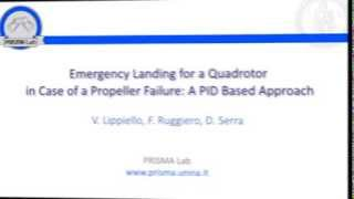 Emergency landing for a quadrotor in case of a propeller failure: A PID based approach