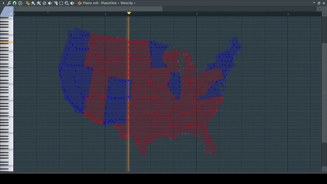 A Musical Map Of The United States But With Different Samples For - Us map of red and blue states