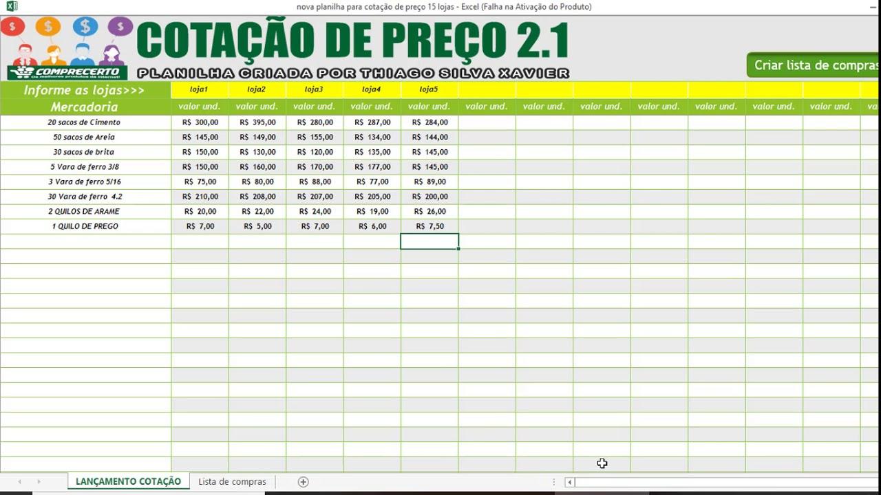 Nova Planilha Cotação De Preço 21 500 Produtos E 15 Lojas