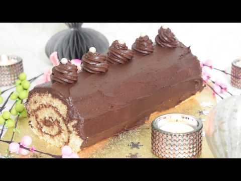 bûche-du-nouvel-an-au-chocolat:-biscuit-génoise-roulé-à-la-creme-au-beurre-chocolat-facile