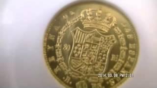 スペイン イザベル2世 80レアル金貨 Isabella gold 80 Reales 1845 PS, KM578 1, MS63 NGC