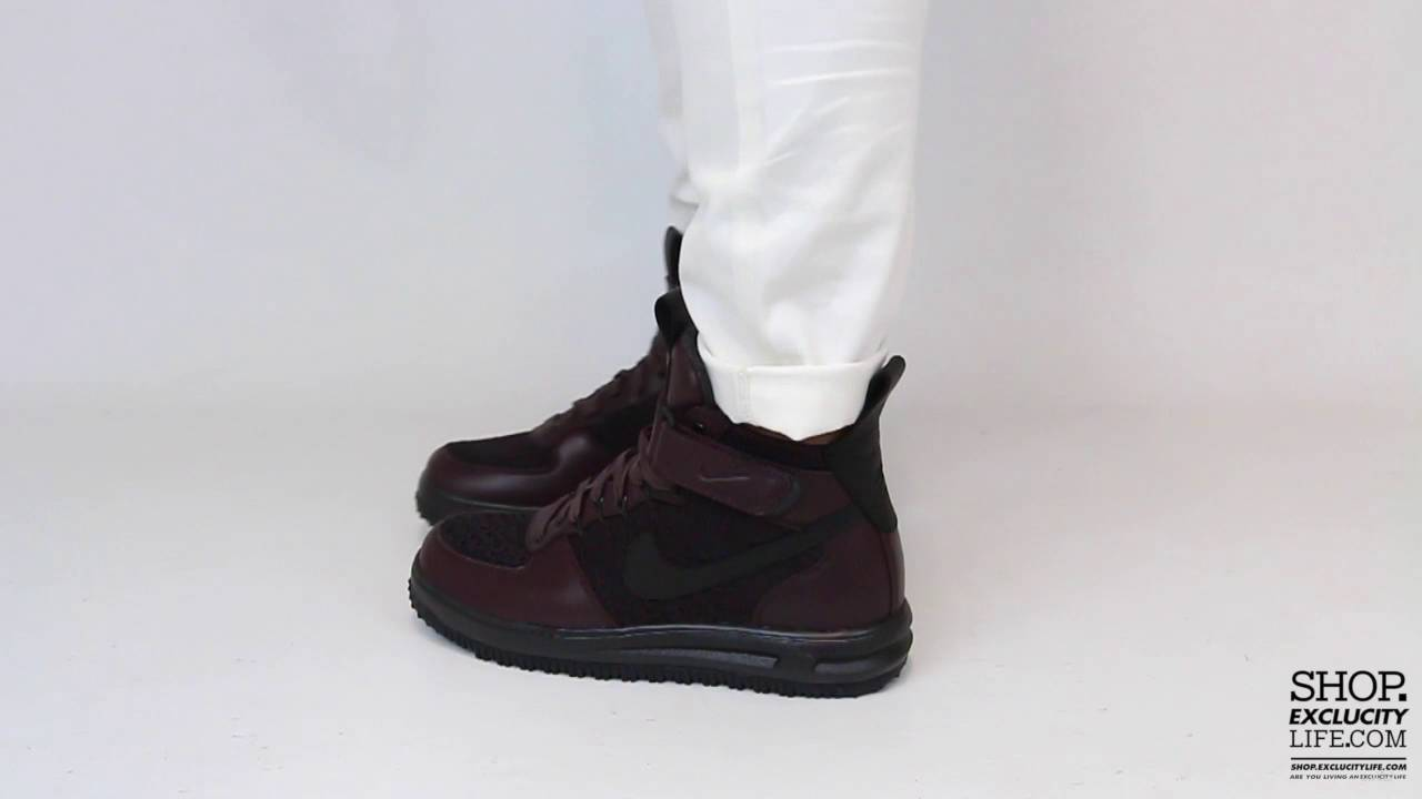 42e67d6672166 Nike Lunar Force 1 Mid Flyknit Workboot Deep Burgundy On feet Video at  Exclucity - YouTube