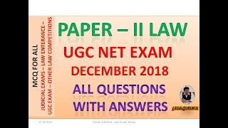 LAW - UGC NET December 2018 Latest Exam All Questions with Answers - with Download Link