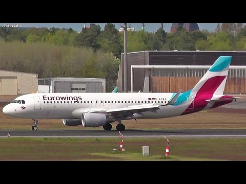 Eurowings Airbus A320-214 SL D-AEWA EW 1042 landing + taxiing to gangway at Berlin Tegel Airport