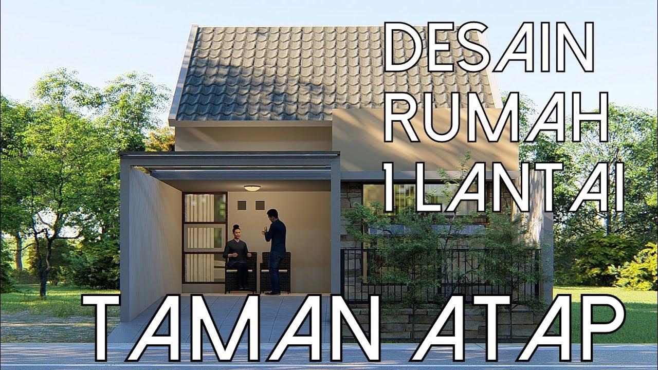 Desain Rumah 1 Lantai Dengan Taman Diatas Atap Lahan 7x15m Kode 002a