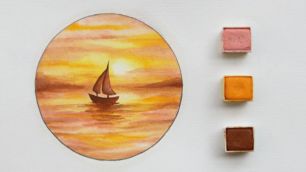 تعلم الرسم : كيف ترسم منظر غروب سهل بـ 3 الوان فقط 🌅 | رسم بحر وقارب بالالوان المائية 🎨