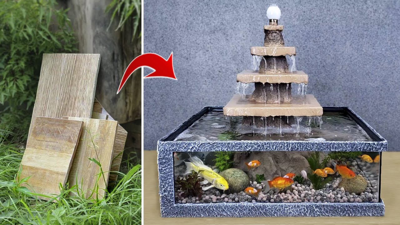 New Idea from Floor Tiles - Make a Beautiful 5-floor Waterfall Aquarium Very Easy / For Your Home