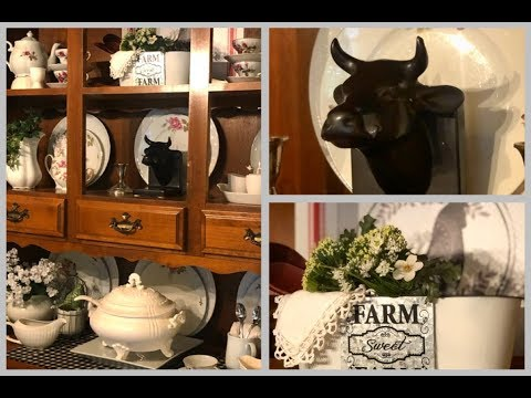 • DECORATE WITH ME- Farmhouse China Cabinet - How To Style A China Cabinet•