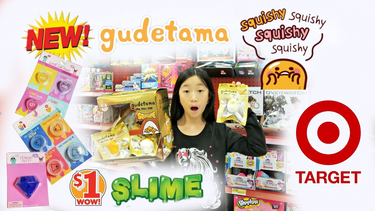 NEW GUDETAMA SQUISHIES AND 1 VALENTINES DAY SLIME PUTTY AT TARGET VLOG