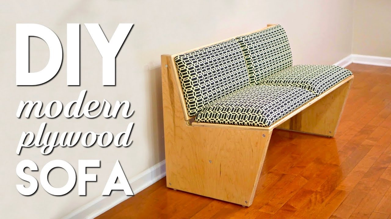 DIY Modern Sofa | How To Build With 1 Sheet of Plywood - Woodworking - YouTube
