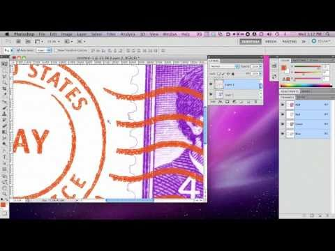 Realistic Postage Stamp & Cancellation Photoshop Shop Brush Tutorial/Product Demo