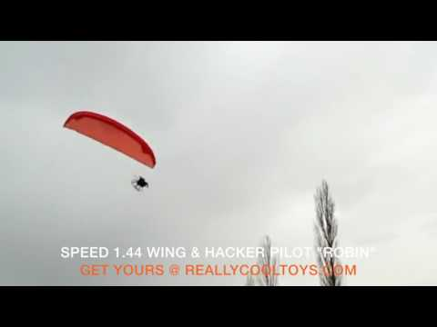 Hacker Pilot, Robin flying Speed 1.44 RC Paraglider Wing!