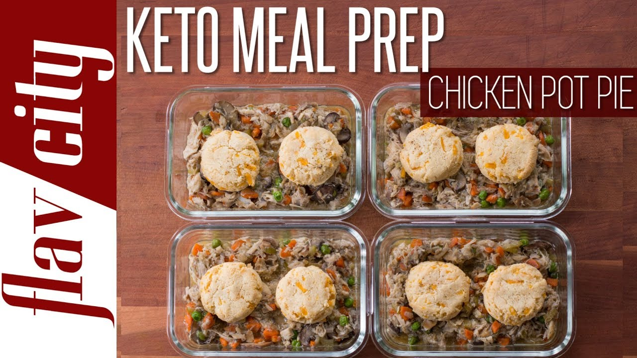 Chicken Pot Pie Meal Prep With Low Carb Keto Cheddar Biscuits - YouTube