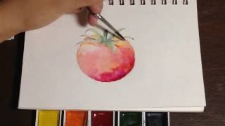 How to Paint A Tomato In Watercolors (Loose Wet-on-Wet Technique)