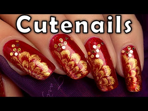 Easy Christmas Red And Gold Nail Art Design Youtube