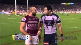 Manly Sea Eagles vs Melbourne Storm Fight 2011 Blair vs Stewart
