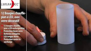 12 BOUGIES CHAUFFE-PLAT À LED, AVEC PHOTOPHORE DÉCORATIF