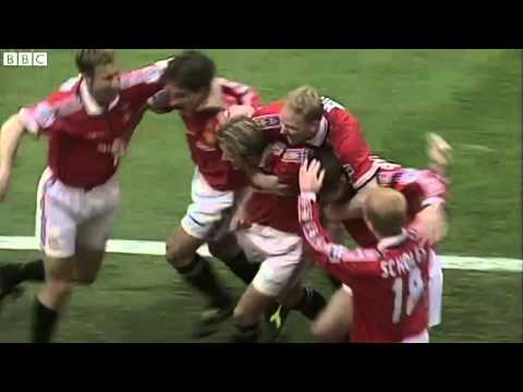 FA Cup: Teddy Sheringham scores for Manchester United in 1999 final